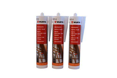 W�rth   3 St�ck   Maler-Acryl Silikon weiss 310 ml Kartusche  Fensterverglasung, Abdichtung, Dehnfugen, Silikonfugen in Bad, Dusche, Sanit�r, aussen   hitzbest�ndig, hochtemperatur  Dichtmasse