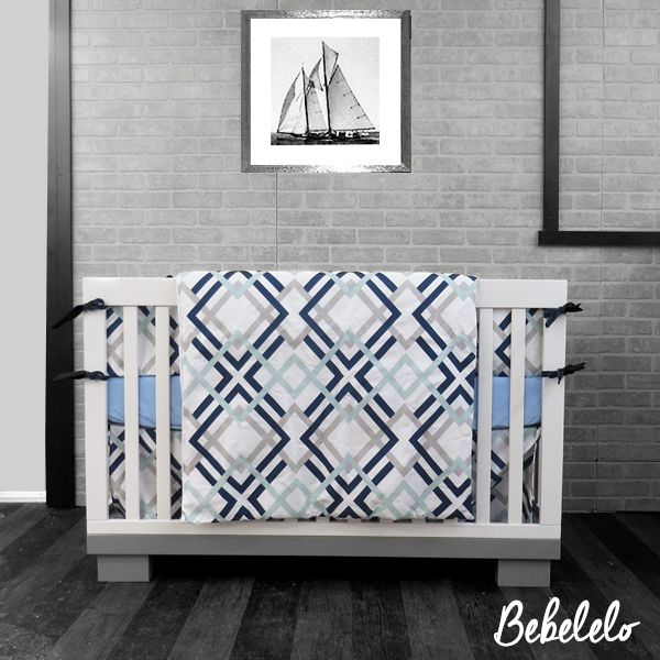 130 Rich Navy Blue And Lime Green (7pcs)   his fun geometric design features soothing shades of robin egg blue, French gray, and navy. Printed on an antique white cotton duck, this fabric is great for all of your home decor project.  #blue #navy #unique #bebelelo #bedding