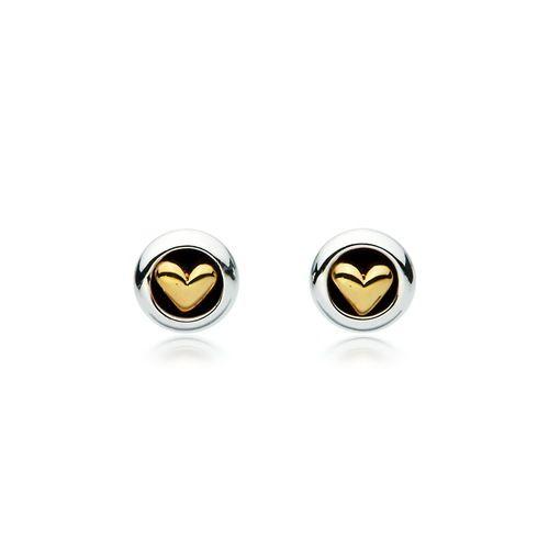 Golden Heart Two Tone Stud Earrings