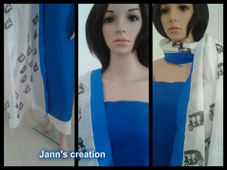 silk cotton salwar with white chanderi dupatta to order,  check out: https://www.facebook.com/pages/Janns-Creations/726865744004090