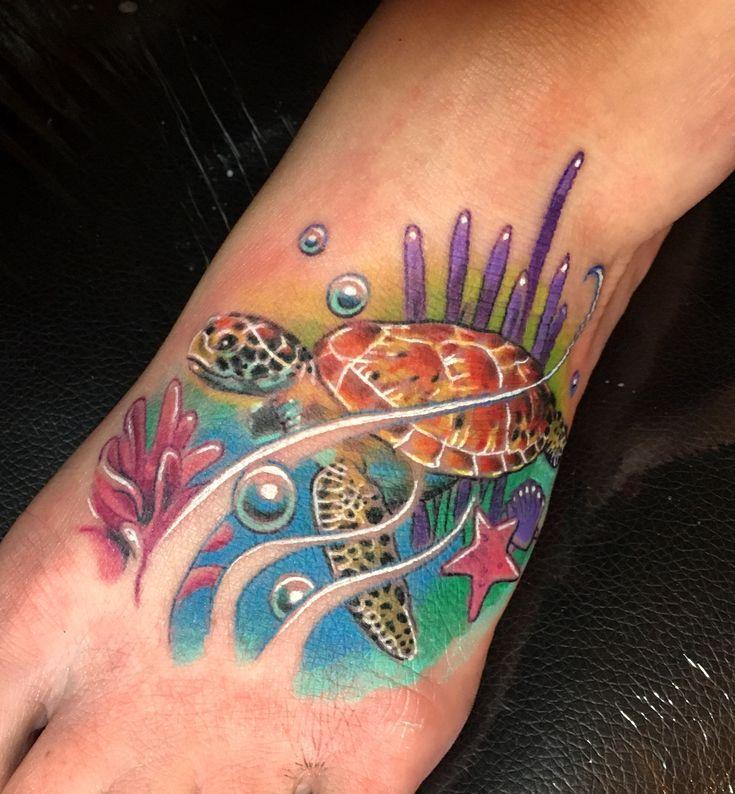 Sea turtle foot tattoo. Credit Kenneth Bywater ink ninja tattoo @ made 2 create inkworks Ferndale, WA