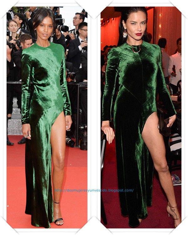 Un vestido verde de terciopelo de Haider Ackermann otoño 2016 lo llevo primero Liya Kebede en el festival de Cannes; y después se lo hemos visto Adriana Lima en una fiesta benéfica.