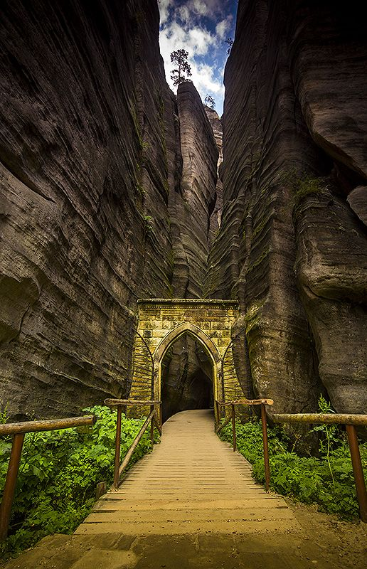 Awesome gate in Teplickie Skaly in Czech Republic