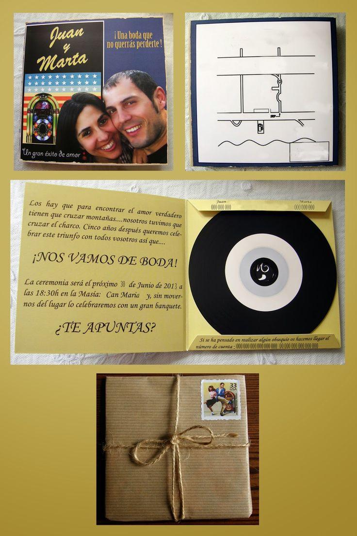Invitación a la boda de una pareja rockera con forma de estuche de disco de vinilo. Cuidando todos los detalles. Desde el envoltorio hasta las canciones grabadas en el CD.