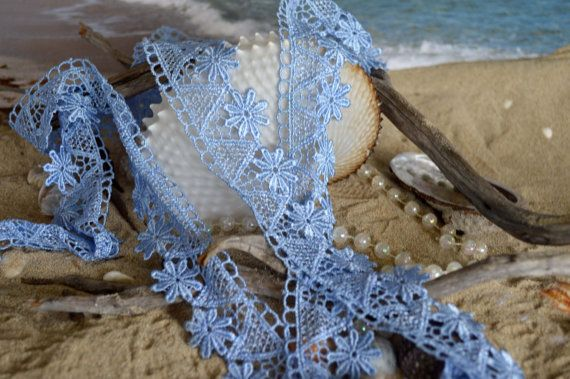 blue lace floral design 4cm wide polyester by TheQuiltedCheese