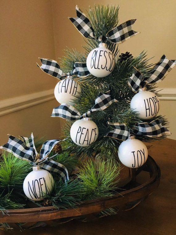 Popular Farmhouse Ornaments Inspired By Rae Dunn Winter White Buffalo Check Ribbon Christmas Farmhouse Ornaments Christmas Decorations