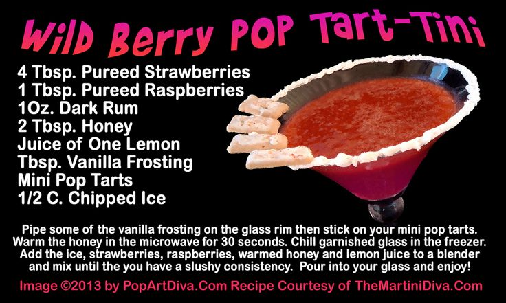 WILD BERRY POP TART MARTINI - a Martini Recipe on Original Art Recipe Card