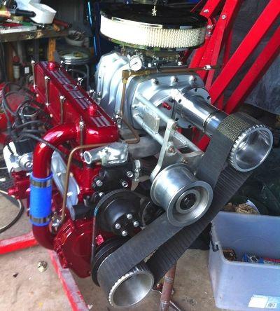 Holden inline six 202ci block boosted by supercharger. Badass Australian engine.