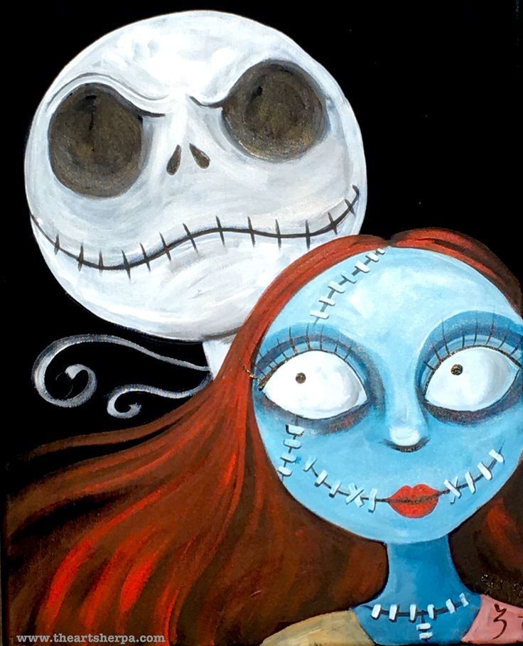 Jack and Sally Skellington painting on Canvas Fan art for the youtube tutorial painting class. Nightmare before Christmas art fun! The Art Sherpa
