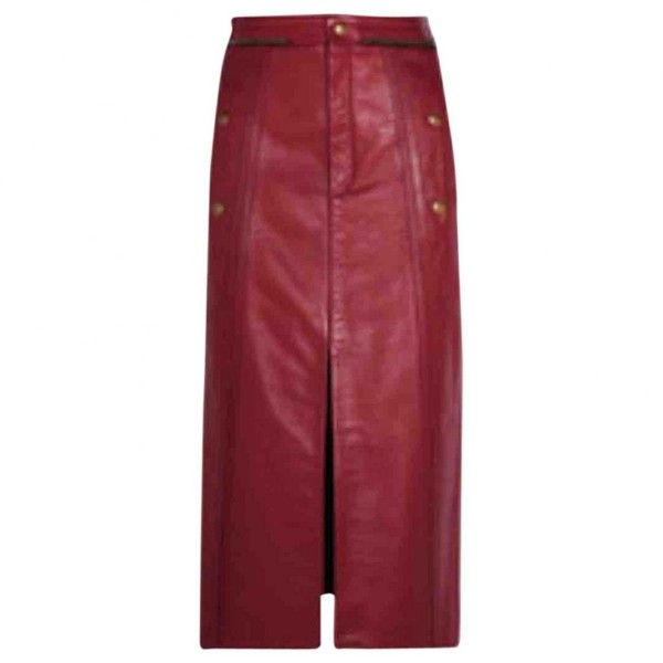 Pre-owned Chloé Leather Maxi Skirt ($985) ❤ liked on Polyvore featuring skirts, red, women clothing skirts, leather maxi skirt, maxi skirts, leather pencil skirt, ankle length pencil skirt and maxi pencil skirt