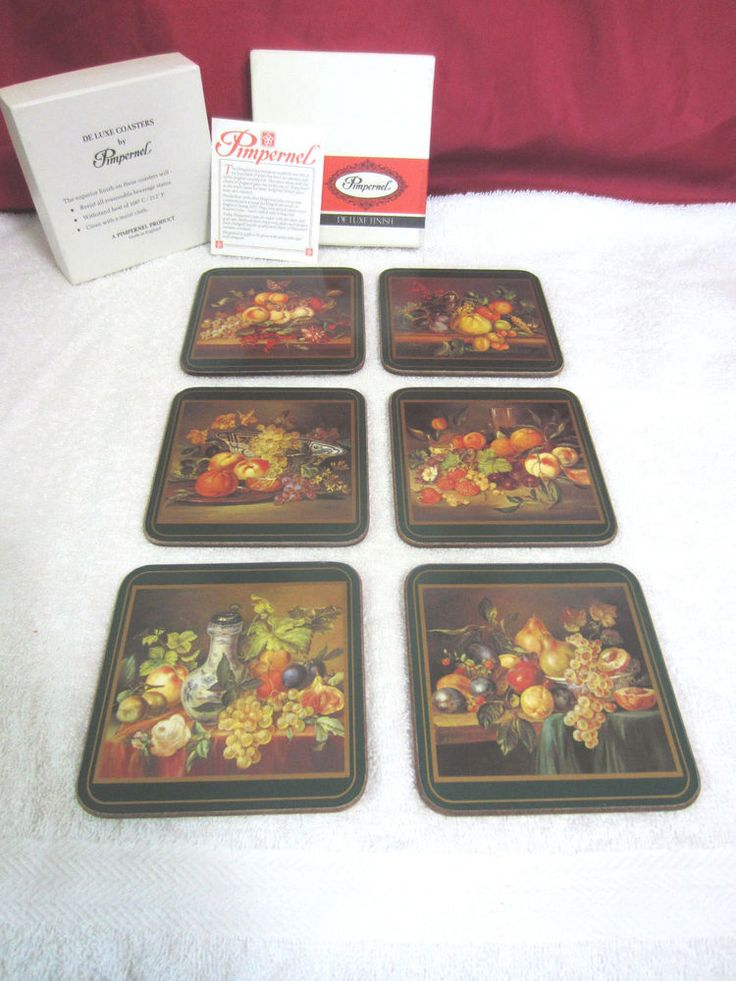 Vintage Pimpernel Traditional Placemat Coasters, Still Life Fruit, NEW 6 Pc. Box #Pimpernel