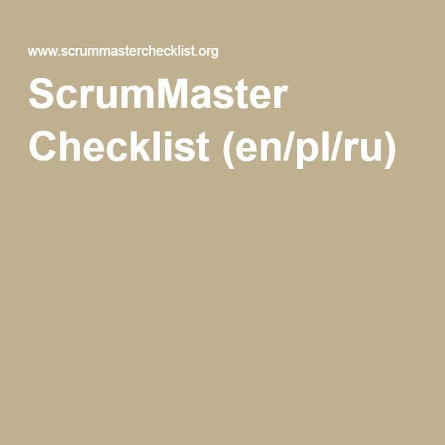 #article: ScrumMaster Checklist (en/pl/ru)