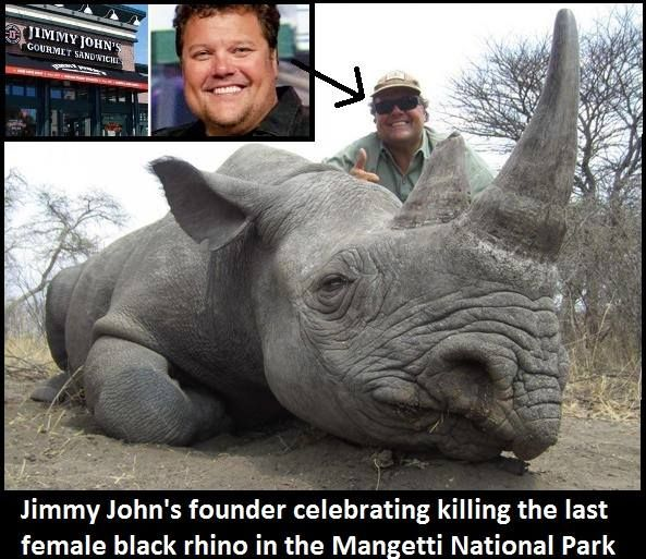 This is Jimmy John Liautaud, owner of the Jimmy John's Sandwich franchise. He is posing with a dead critically endangered black rhino he killed which was the last female rhino in the Mangetti National Park in Namibia.  Read more on the story here http://allafrica.com/stories/201410230452.html  JImmy John's facebook https://www.facebook.com/jimmyjohns?fref=ts
