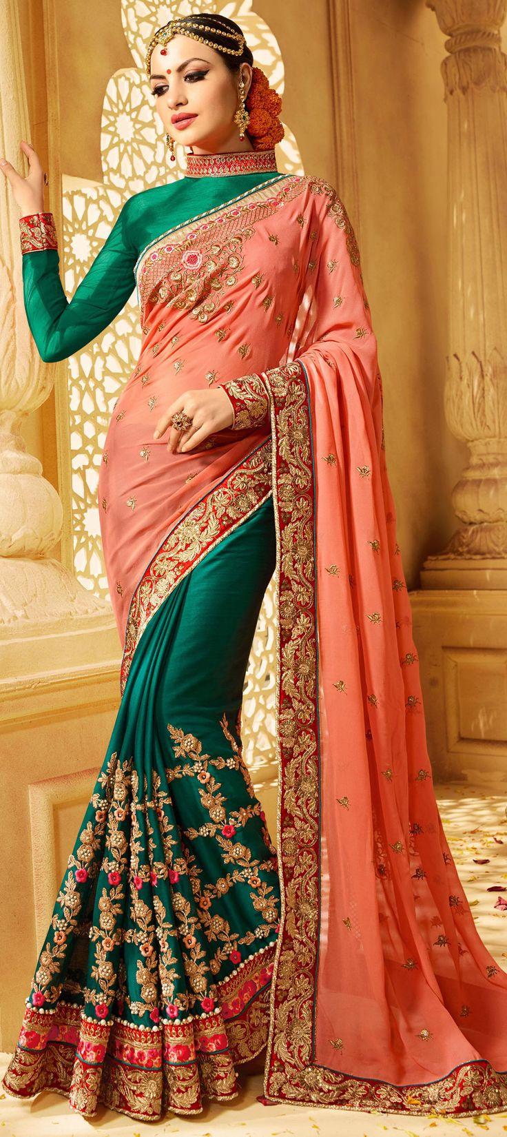 741598 Green, Pink and Majenta  color family Embroidered Sarees, Party Wear Sarees in Georgette, Jacquard fabric with Machine Embroidery, Moti, Patch, Thread, Zari work   with matching unstitched blouse.