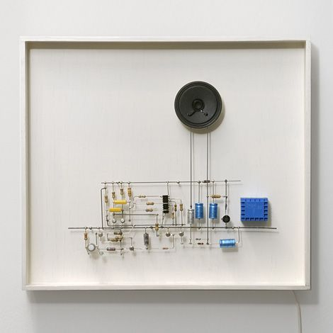 Peter Vogel, Series of Sounds, 1985, microphone, speakers, light emitting diodes, circuits, iron wire, wooden frame, 12 x 13.5, 110 volts.