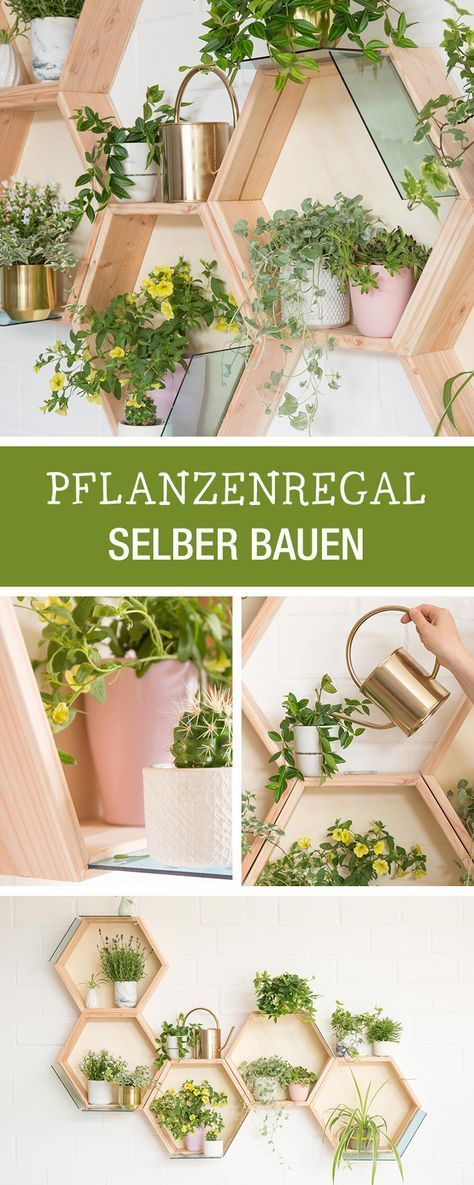 Diy-instructions for a honeycomb planter, living room made of wood, developed together with the ideas workshop of 1000 good reasons / diy furniture: wooden wall plan for your indoor urban jungle via DaWanda.com