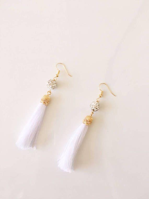 White Earrings with Crystal  Beads Silk Tassel от NURACCESSORIESKG