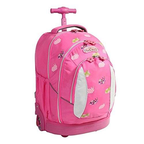 Bright Pink Rolling Briefcase Kids Rabbit Pattern 17 inch Size Rolling Backpack Soft Noiseless Line Skate Wheel Briefcase