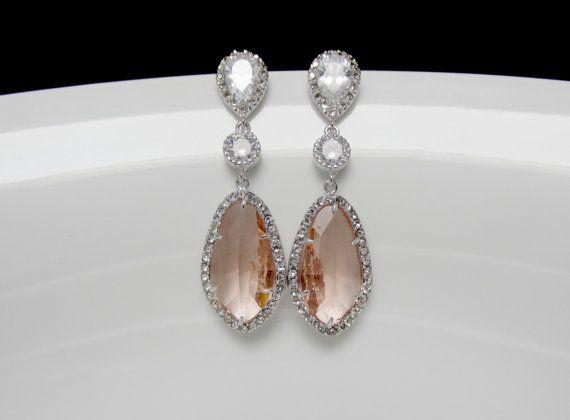blush earrings , silver peach earrings , champagne bridal earrings , prom earrings , bridesmaids earrings , long drop earrings ,gift for her