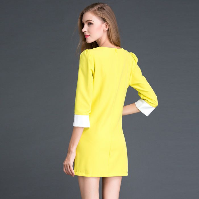 Hot New Fashion Women Winter Dress Yellow Color Soft Nap Casual Dress Full Sleeve
