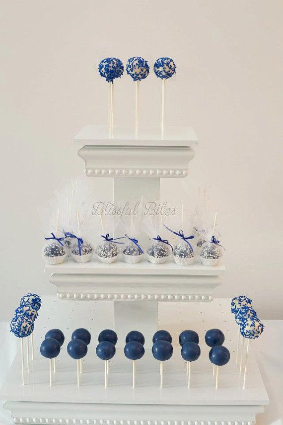 Royal Blue Wedding Cake Pops, love this idea! This would be cute for the bridal shower or rehearsal dinner