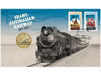 Trans-Australian Railways stamp and Perth Mint coin cover