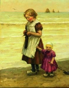 A Knitting Girl With A Small Child On Surf Star De Jong, James Frederick