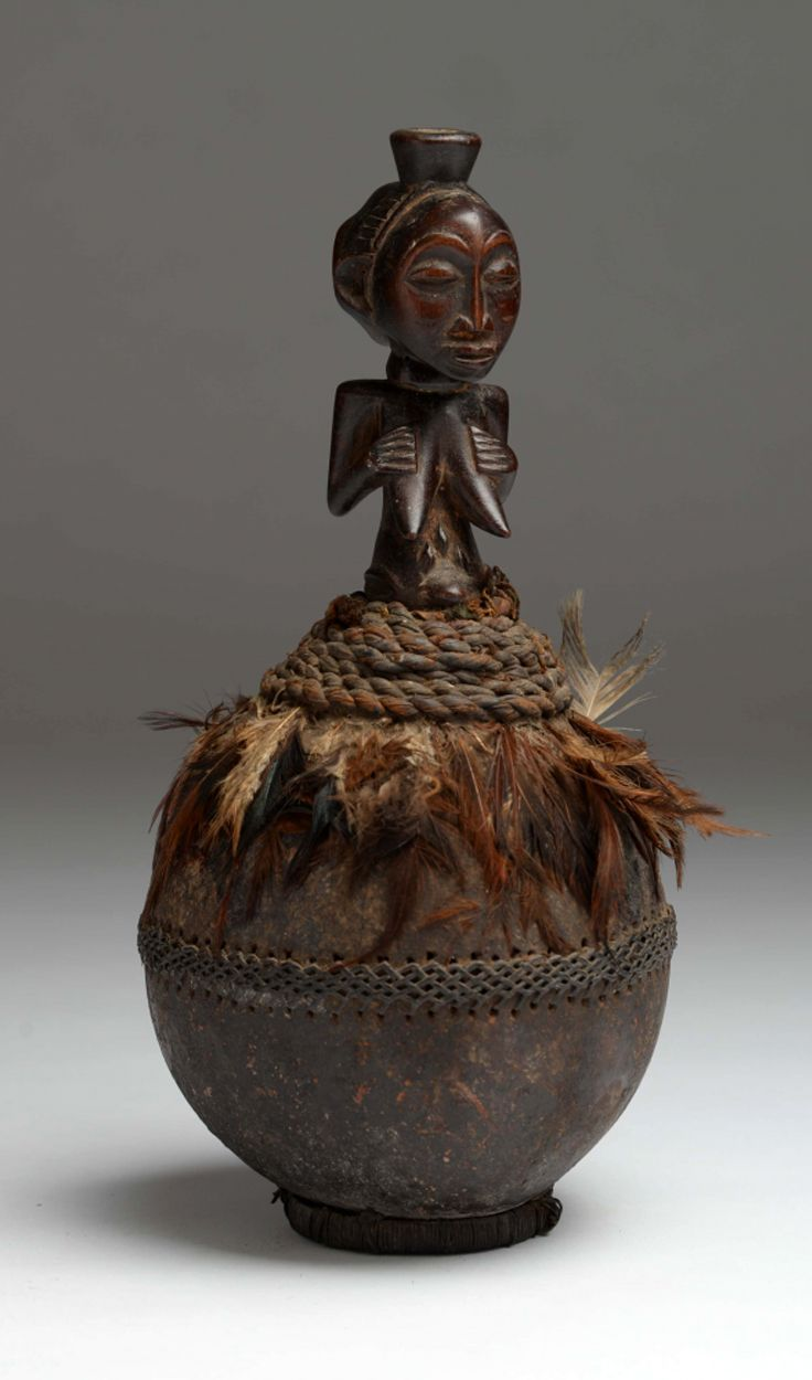 Africa | Lidded calabash figure from the Luba people of DR Congo | Gourd, wood, feathers, natural fiber