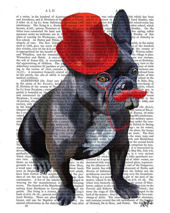 French Bulldog Red Moustache Top Hat Art Print dictionary page book art Dog Art Dog Print wall art wall decor, wall hanging on Etsy, 11,46€