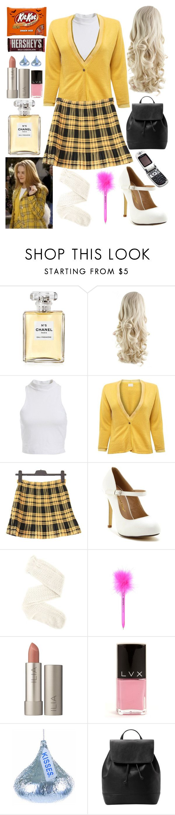 """Cher from clueless costume"" by chloe12801 ❤ liked on Polyvore featuring Mode, Chanel, Bardot, EAST, Chase & Chloe, Charlotte Russe, Ilia, LVX, Hershey's und MANGO"