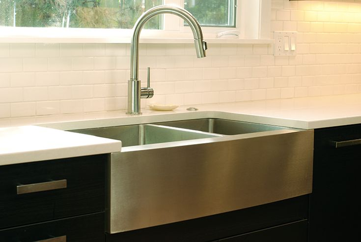 Kraus Under Mount Farm Apron Front Sink Pental Quartz Counter Top Subway Tile Backsplash