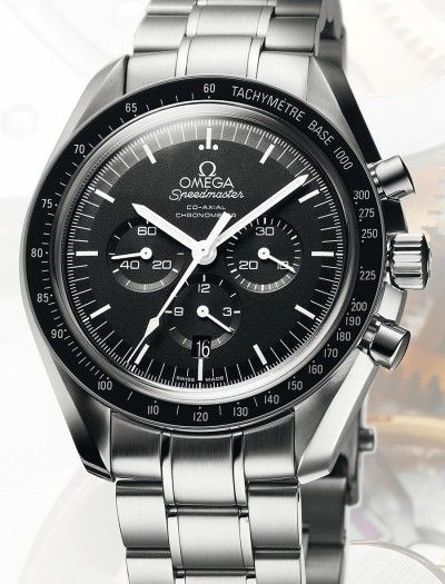 "Omega | Speedmaster Moonwatch Co-Axial Chronograph. Reference: 311.30.44.50.01.002. If you're looking for an automatic Speedmaster that's not the ""reduced"" model which is smaller. This is the one. 14mm high x 44 mm daimeter. Saphire crystal with exhibition back. Costs a small fortune. $6500 compared to the original manual wind model."