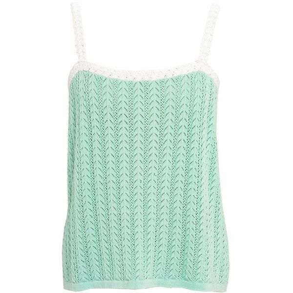Mint Crochet Strappy Top by Lowie ($79) ❤ liked on Polyvore featuring tops, crochet vest top, mint green vest, loose fitting tops, green vest and macrame top