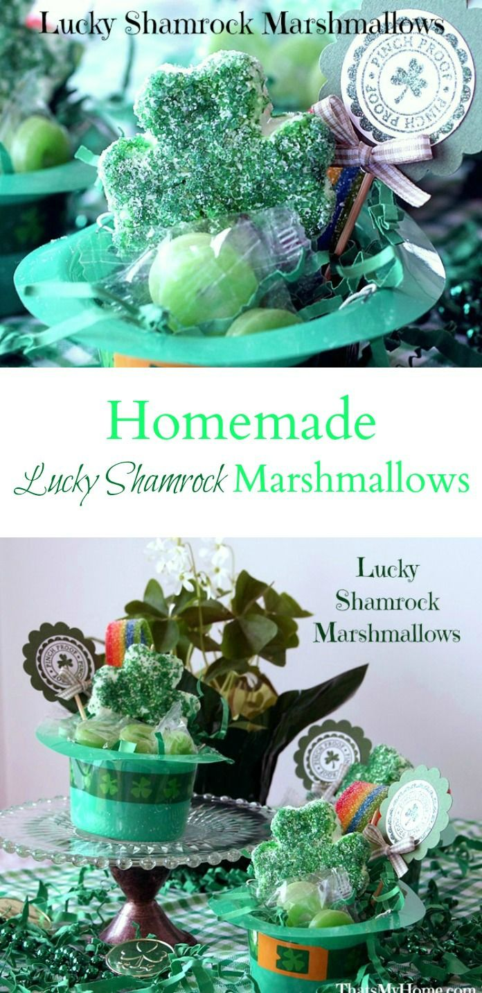 Homemade Lucky Shamrock Marshmallows are simple and cute as a St. Patrick's Day treat.