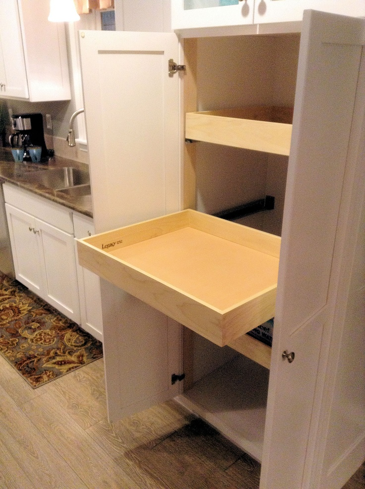 Full-extension pantry shelves. Shown here with a Glacier White 5pc Shaker Maple #Kitchen