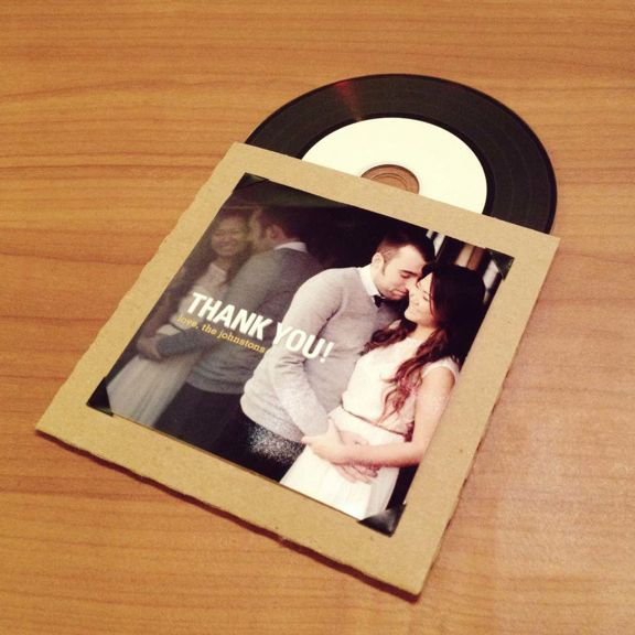 A special CD as a thank you favor at your wedding with your favorite songs... an Instagram photo serves as the perfect cover! Check out LOTS more thank you ideas here... http://www.hillcitybride.com/2014/07/thank-note-ideas/ :)