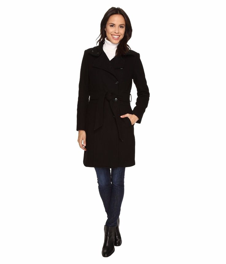 Kenneth Cole New York Asymmetrical Button Front Wool Coat Black Womens Peacoat 2