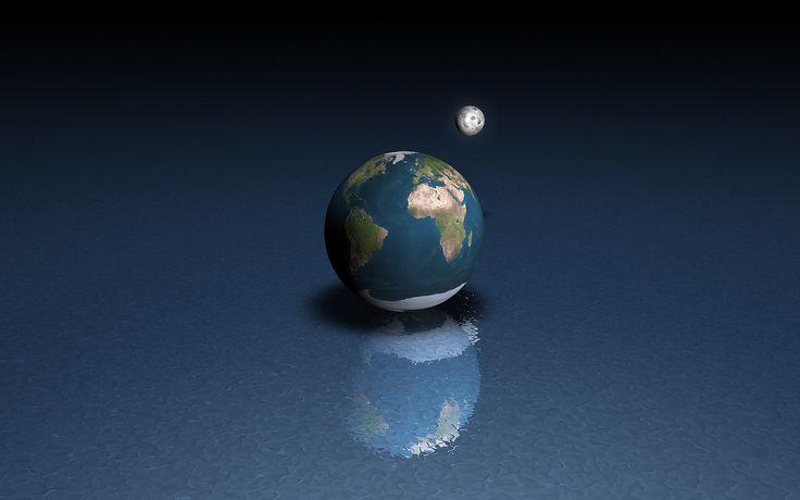 3D модели земли и луны на поверхности воды, размер: 1920x1200 пикселей