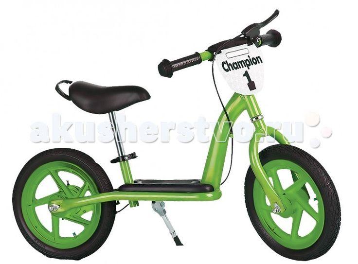 """Беговел Small Rider Champion Deluxe самокат  Small Rider Champion Deluxe имеет столько функций, что можно сказать, что это почти что полноценный детский велосипед без педалей.  Особенности:  Надувные колеса 12' радиус; Ручной тормоз; Широкая платформа, куда ребенок может поставить ноги, оттолкнувшись от земли; Регулировка высоты сиденья без инструмента (руля с инструментом); Подножка; Ручка-переноска; Новая опция - 2 брызговичка;  Эффектный дизайн и табличка """"Champion"""" спереди."""