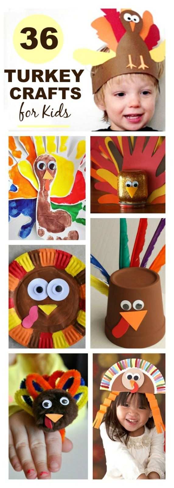 Gobble Gobble! From flower turkeys to turkey rings here are 36 adorable turkey crafts for kids to make this Fall. PIN ME! For All the Best Kid ActivitiesFollow us on Pinterest & Facebook Thanksgivi