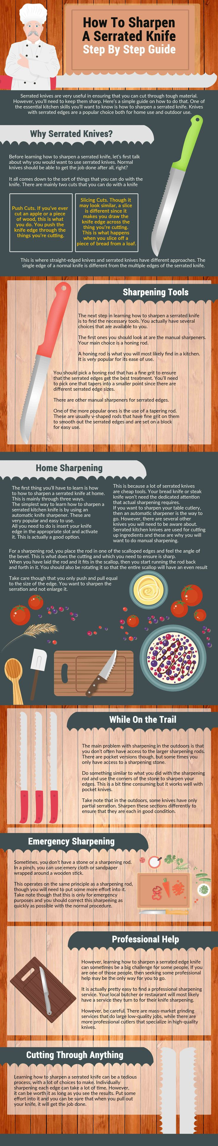 how to sharpen a serrated knife Infographics, how to sharpen a serrated knife