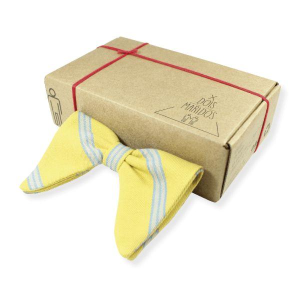 Gravata Bat Listrada Amarela – Dois Maridos – Gravatas Borboletas, Suspensórios e informações de moda.