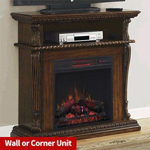 Corinth Wall or Corner Infrared Electric Fireplace Media Center in Burnished Walnut - 23DE1447-W502