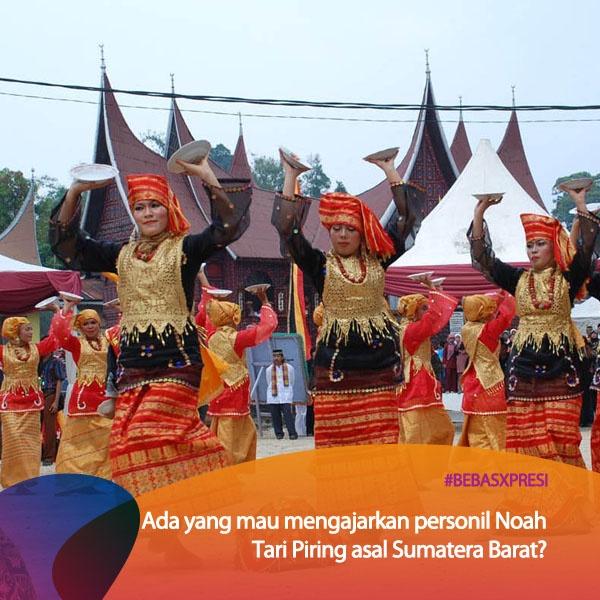 Ada yang bisa Tari Piring asal Sumatera Barat? Keren tuh kalau ada yang bisa ngajarin personil Noah kalau mereka konser disana. Vote yuk untuk Sumatera Barat di bebasxpresi.com! #BebasXpresi