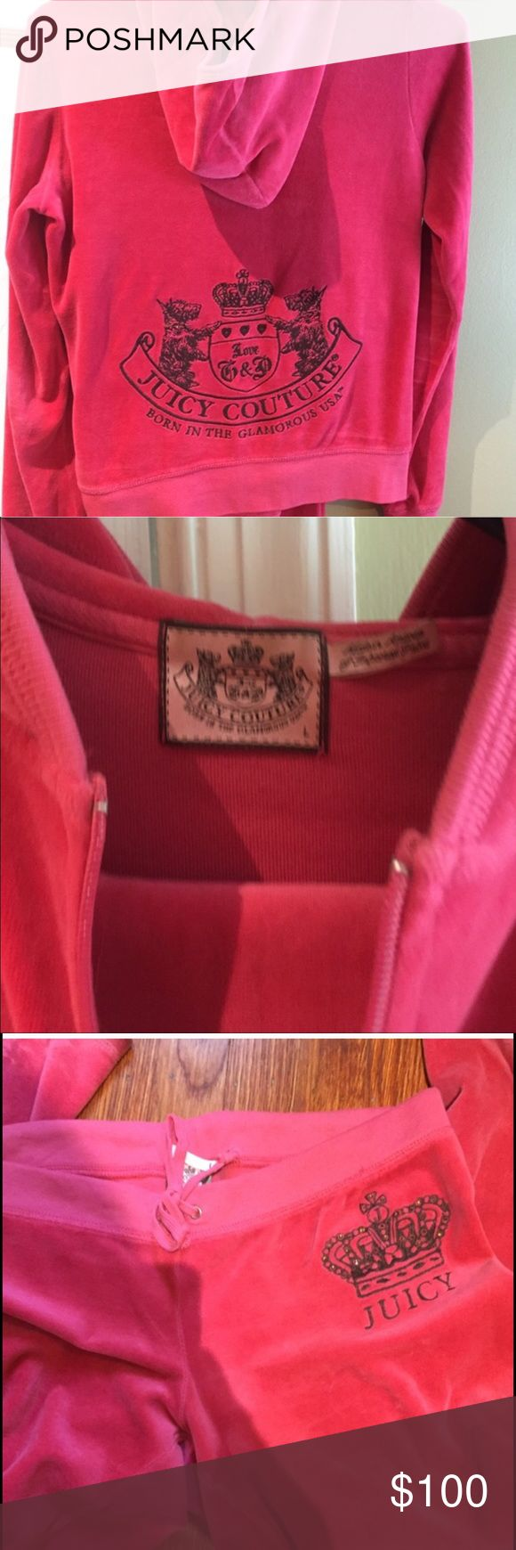 Juicy Couture Velour Tracksuit (HOT PINK) Classic Juicy Couture fit tracksuit in hot pink velour. The actual Juicy logo on the lower back in brown stitching. Standard pants. (No pockets on front or back) Both pieces are size Medium. No rips or stains. No signs of ware.No fading! In EXCELLENT condition!!!! Will trade for another juicy tracksuit in size Large! I am looking for a Barbie pink. Juicy Couture Other