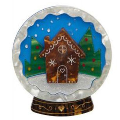 Erstwilder Holiday 2016 | Seasons Greetings | Snow Globe Brooch | Holiday Jewelry | Dapper Christmas | Vintage Christmas Brooch | Gingerbread House Brooch