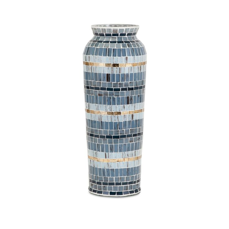 Each piece of colored glass is hand applied to this beautifully detailed large mosaic vase. When Trisha Yearwood and Garth Brooks were first married, their home was all decorated in blue, this large v