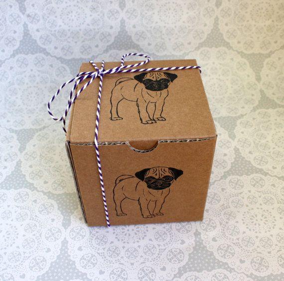 Pug gift box Small kraft gift box with pug print Dogs