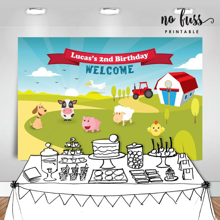 Animals Farm Backdrop | Party Banner | Poster | Signage | Personalised | Printable ONLY | Birthday Backdrop by NoFussPrintable on Etsy https://www.etsy.com/listing/261996816/animals-farm-backdrop-party-banner