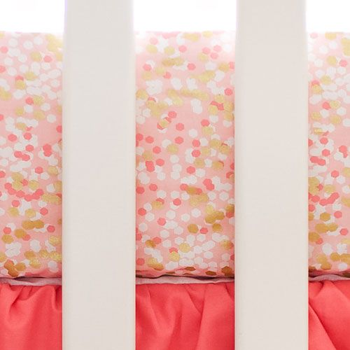 Our Coral and Gold Crib Sheet is classy and extra girly! Our Shimmer Reflections Crib Collection is perfect for your little girls coral nursery!